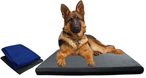 Cama para Perros Grandes, Doble Funda de Pana Lavable XL, Colchón Perro Impermeable y desenfundable (120x80x8, Gris)