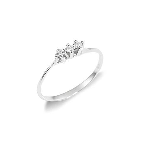 Anello Trilogy in Oro bianco 18k con Diamanti - 9