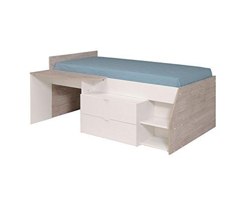 MILKY Jugendbett Kinderbett 120 x 60 cm mit 2 Schubladen und Schreibtisch, Weiß, Jugendzimmer Kinderzimmer, Spanplatte, 135 x 203 x 90 cm