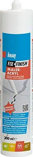 Knauf 593604 Maler FIX + Finish Maleracryl für Dehnungs-und Anschluss geringer Beanspruchung Acryl, Fugen-Masse zum Dichten im Innen-und Außen-Bereich, weiß, 300 ml