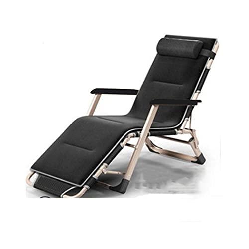 FASZFSAF Bequemer und Weicher Faltbarer Liegestuhl Lazy Reclining Gepolsterter Zero Gravity Lounge Chair Verstellbar mit KopfstüTze füR Rasen, Terrasse, Camping, Outdoor, Indoor,Black 2