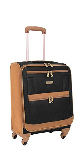 Cabin Size 4 Wheel Faux Suede Soft Hand Luggage Lightweight Suitcase Travel Trolley Bags A082 Black