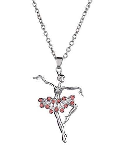 N-K PULABO - Collar con colgante de bailarina con diamantes de imitación, regalo de Navidad para mujeres y niñas, calidad premium a la moda