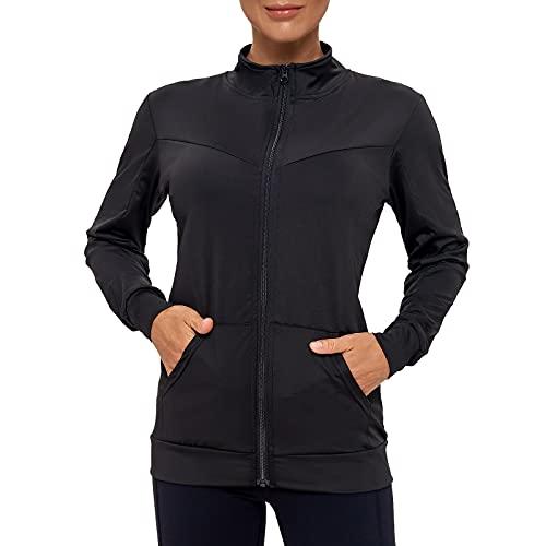 AMZSPORT Damen Laufjacke Sportjacke Langarm Trainingsjacke Sweatjacke mit Tasche Für Fitness Yoga, Schwarz S