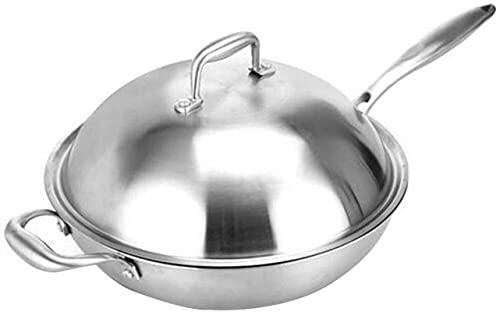 TINGFENG Wok Panadora de hierro antiadherente con tapa de acero inoxidable, sin cacerola de humo de aceite, cocina de inducción, estufa de gas, utensilios de cocina