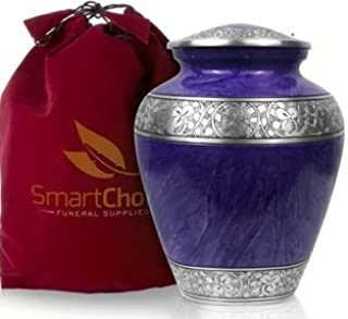 SmartChoice Cremation Urn for Human Ashes (Adult) - Memorial Funeral Vase with Secure Lid - Royal Purple Handcrafted Adult Urn