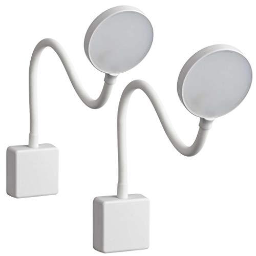 SEBSON® 2x Lampara Enchufe Pared LED Blanca, Luz Lectura Regulable, Luz Nocturna Flexible, 4W blanca neutra 4000K, Aplique Pared - Lampara de Noche ⭐
