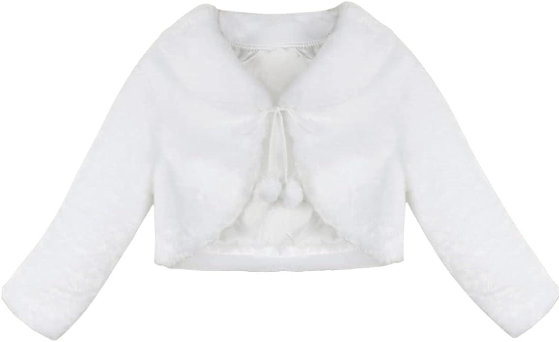 LiiYii Kids Girls Faux Fur Boleros Shrug Jackets Long Sleeve Pompom Cropped Coat Bridesmaid Cardigan with Bowtie