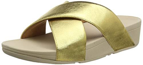Fitflop Lulu Cross Slide, Sandales Bout Ouvert Femme, Or (Artisan Gold 667), 41 EU