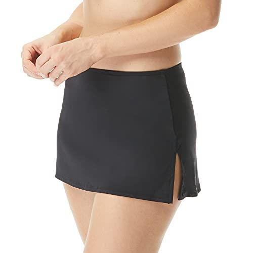 BEACH HOUSE Pull On Swim Skirt — Full Coverage Swimsuit Skirt with Attached Bikini Bottom, Charlotte, Black, 10