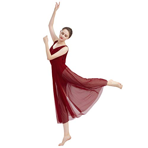 ODASDO Women Lyrical Modern Contemporary Dance Costume Ballet Leotard Drop V-Neck Backless Split Mesh Tulle Skirt Flowy Overlay Long Dress Ballroom Pageant Clothes Wine Red XL