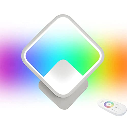 HMAKGG 20W RGB Aplique Pared Interior LED Regulable Con Mando A Distancia, Regulable, Cambio De Color, Lámpara De Pared Creativa Para Habitación Infantil, Dormitorio O Salón,Blanco