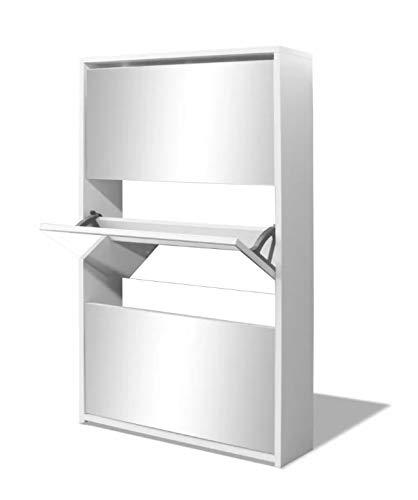 Zerone Mueble Zapatero Espejo, Zapatero Blanco con 3 Compartimentos, 63 x 17 x 102,5 cm