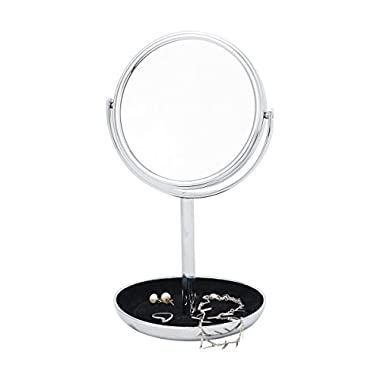 Danielle Two-Sided 5X Magnification Vanity Mirror with Felt Lined Jewelry Tray, Chrome