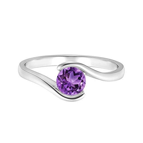 Shine Jewel 0.75 CTW Anillo de Promesa de desvío de Piedras Preciosas de Amatista Solitario Redondo clásico Plata 925 (13)