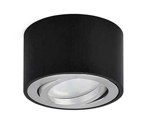 OPPER LED Aufputzleuchte Deckenleuchte flach Schwenkbar 230V Aufbau Deckenleuchte inkl. tauschbarem 5W LED Modul 3000K Warmweiß Ø80x50mm LED Aufputz Downlight Schwarz Gebürstet rund