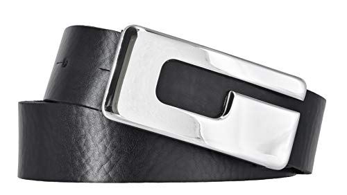 Mytem-Gear Damen Leder Gürtel 30 mm Nappaleder Damengürtel (100 cm, schwarz)