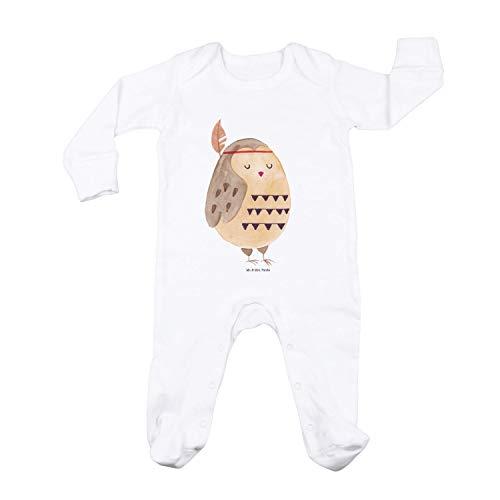 Mr. & Mrs. Panda Schlafstrampler, Schlafanzug, 3-6 Monate Baby Strampler Eule Indianer - Farbe Weiß