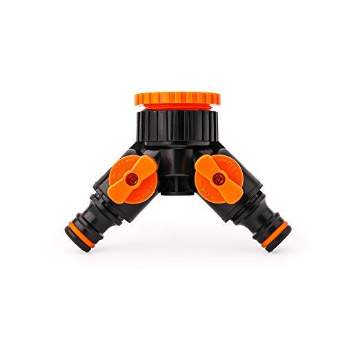 BFG Adaptador de Grifo de 3/4'-1' con acoplador para Dos Conectores rápidos y válvula de Cierre I Divisor de 2 vías con válvulas Independientes I Acoplador Exterior de Grifo de jardín