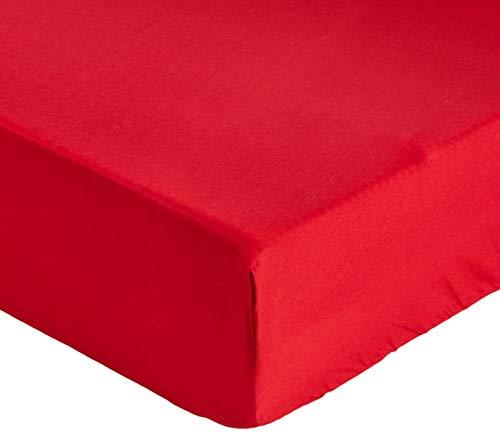 fleuresse Uni-Colours, Spannbettlaken mit Rundumgummi, Mako Satin, 100 Prozent Baumwolle, ideal für Matratzen bis 23 cm Höhe, 180 x 200 cm, Fb. Bordeaux-rot, 9100 Fb. 4580