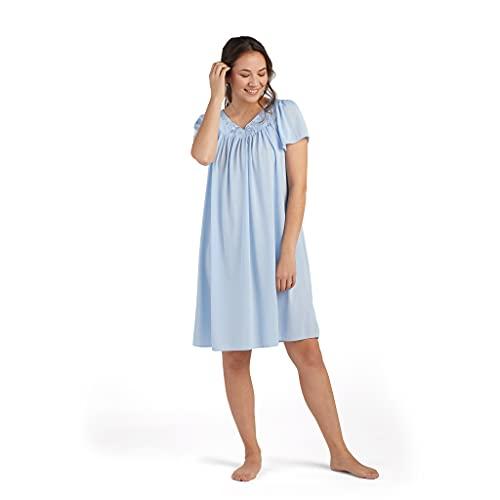Miss Elaine Women's Tricot Short Flutter Sleeve Nightgown, Bluebell, Large