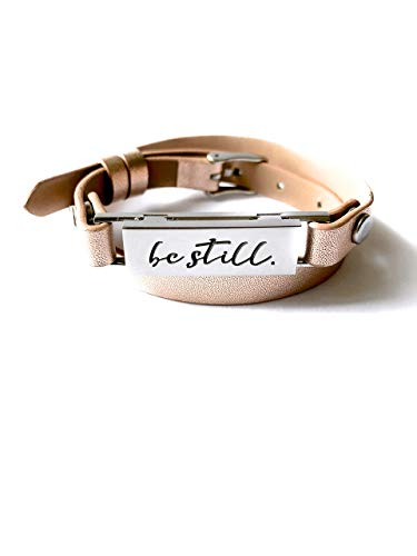 Minimalist Diffuser Leather Wrap Rose-Gold Bracelet:'Be Still' Aromatherapy Bar Bracelet for Essential Oils with Modern Pendant Style Locket (Reversible and Adjustable)