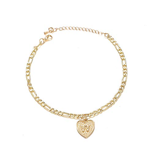 UEUC Heart Initial Ankle Bracelets for Women, 14K Gold Plated Letter Anklet with Initials Cute Summer Anklets,Alphabet Layered Anklet for Women Beach Jewelry