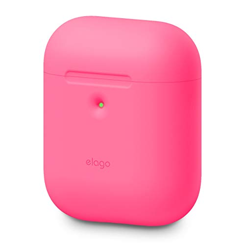 elago A2 Custodia in Silicone Compatibile con Apple AirPods 2 Custodia Wireless (LED anteriore visibile) - Supporta la ricarica wireless, Protezione Extra (senza Moschettone, Neon Rosa Caldo)