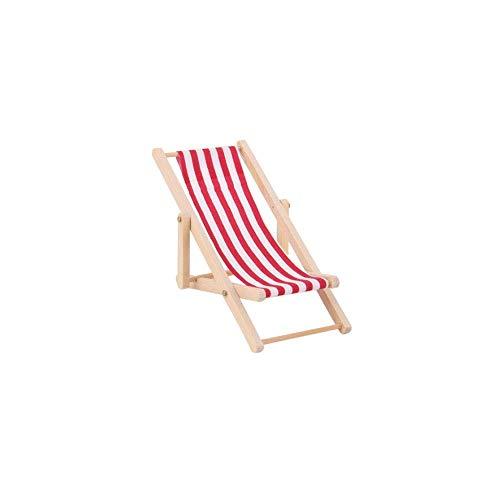 Silla de playa plegable en miniatura de madera a rayas para casa de muñecas, 1 pieza, elegante y popular