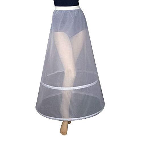 Roydoa Damen Brautkleid, 2 Kreolen, a-Linie, knöchellang, voller Slip Petticoat einlagig, elastisch, Empire Taille, Hochzeitskleid, Crinoline Unterrock