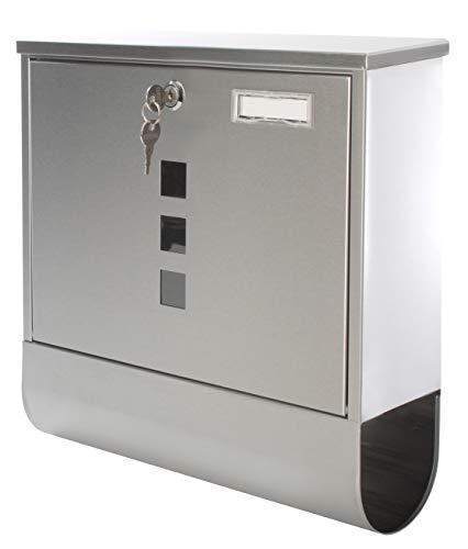 Bingo Shop Design Briefkasten Edelstahl mit Zeitungsfach 3 Sichtfenster I Platz für Namensschild abschließbar 2 Schlüssel inkl. einfacher Anbau inkl. Montagematerial Silber F53