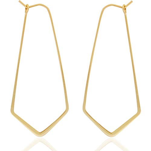 Humble Chic Geometric Chevron Threader Hoop Earrings - Lightweight Cutout Thin Wire Drop Dangles, 18K Yellow - 2 inch, Gold Plated, Hypoallergenic