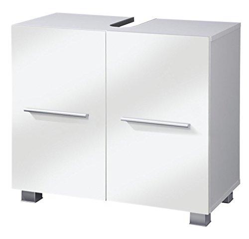 VCM Waschtischunterschrank Unterschrank Badschrank Carlos weiß/weiß 65 x 31,5 x 51,5 cm Waschbecke Badmöbel Weiß/Weiß