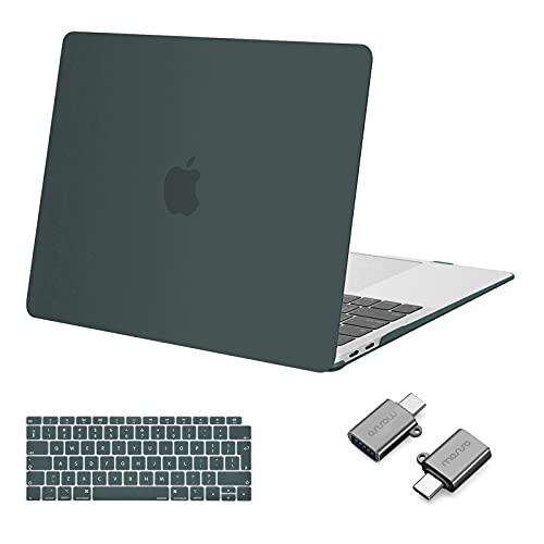 MOSISO Case Compatibile con MacBook Air 13 con Retina Display 2020-2018 A2337 M1 A2179 A1932, Custodia Rigida in Plastica&Tastiera Cover&Type C Adapter 2 Pacchi, Midnight Green