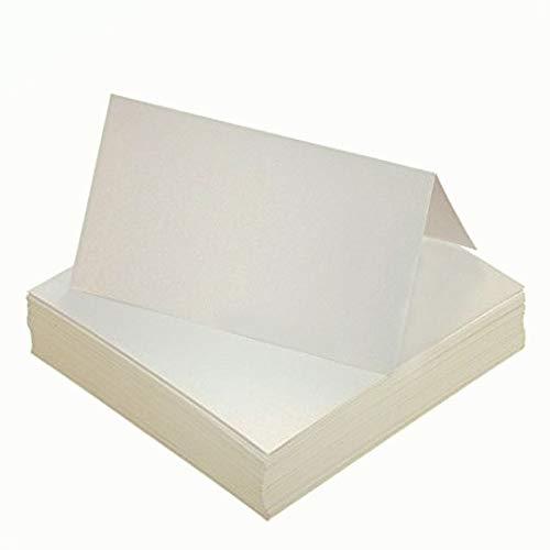 Tischkarten,Platzkarten 100 stück Perlweiss Blanko Namenskarten für Hochzeiten Geburtstage Taufe Familienfeiern Trauerfeiern Meetings Präsentationen 10 * 10cm