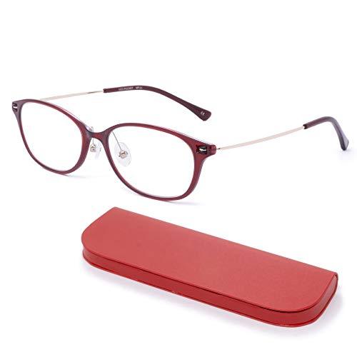 MIDI-ミディ おしゃれ 老眼鏡 MIDIポケット 14mmの極薄メガネケースに収納 ブルーライトカット 紫外線カット レディース 軽量 ボルドー (MP-01,C1,+0.75)