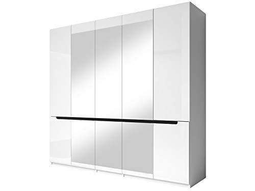 Furniture24 Kleiderschrank Hektor - 21, Schrank, mit 5 Türen, Kleiederstange, Spiegel und 5 Einlegeboden, Hochglanz, Drehtürenschrank (Weiß/Weiß Hochglanz/Schwarz)