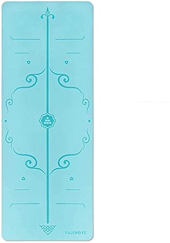 LSLS Esterilla De Yoga Mats de Yoga de 5 mm, Estera de Ejercicio de Goma Antideslizante Multiusos, Estera de práctica de Piso Pilates Esterilla Fitness (Color : Blue)