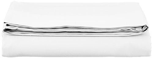 AmazonBasics Bettlaken, Baumwoll-Satin Fadenzahl 400, knitterarm, 180 x 290 + 10 cm - Weiß