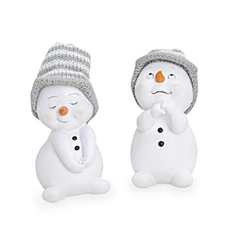 TEMPELWELT 2X Deko Figur Schneemann im Set je 11 cm, Keramik weiß, Wintermütze Textil Wolle grau, Keramikfigur Dekofigur Winter Weihnachten Advent Dekoration