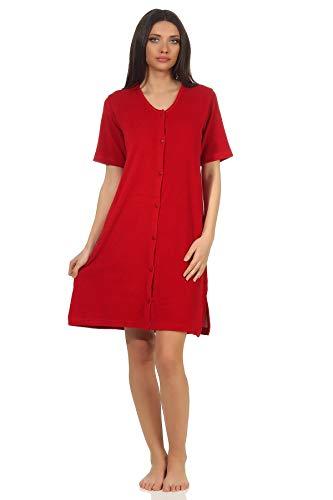 Damen Frottee Strandkleid Nachthemd Kurzarm in maritimen Farben zum durchknöpfen, Farbe:rot, Größe2:44/46