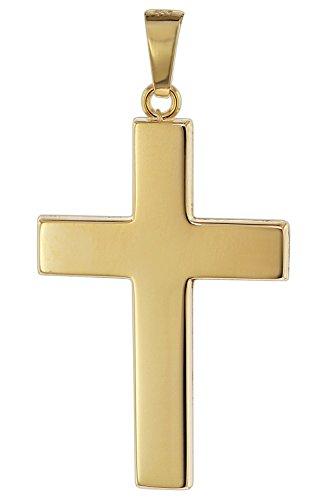 trendor Kreuz Anhänger für Männer 585 Gold 27 mm Herren Goldanhänger, modischer Kreuzanhänger, zeitlose Geschenkidee, eleganter Schmuck aus Echtgold 08624