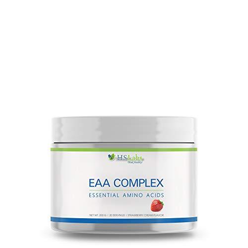 HSLabs EAA Essential Amino Acids BCAA 2 1 1 Complex Powder Leucine Isoleucine Valine Lysine Arginine Tyrosine Glutamine Threonine Phenylalanine Methionine Histidine Tryptophan Cysteine|Strawberry,200g