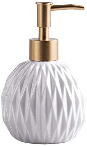Dispensador de jabón Dispensador de jabón de cerámica Loción Redonda Botella Dispensadores manuales Lociones de champú de jabones para baño Bomba de Cocina Botella de Botella Bomba de jabón-Blanc