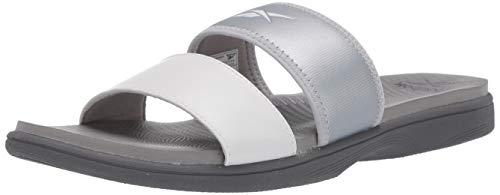Reebok Damen Sprint Parallel Slide Sandale, Silber (Weiß/Silber), 42 EU