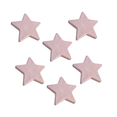6 Un. TIRADOR Pomo Mueble Infantil ESTRELLA plástico rosa para habitación BEBÉ 70x67X20mm
