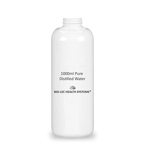 (1000ml (1l)) Agua destilada a vapor lento y 100% puro de varios tamaños Multiuso [Calidad alimentaria/Calidad médica/Libre de BPA] por Bio-Lec Health Systems®