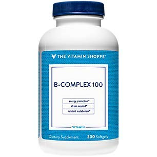 BComplex 100 – Supports Energy Production, Nervous System Function Nutrient Metabolism – Excellent Source of B1, B2, B6, B12, Niacin, Folic Acid Biotin (300 Softgels) by The Vitamin Shoppe