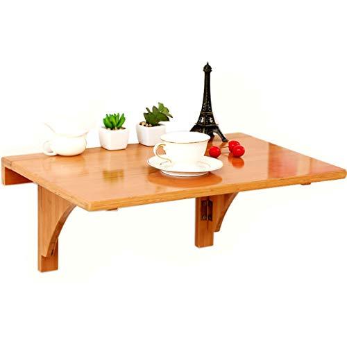 ZhuFengshop Drop Leaf Tafel voor aan de muur, klaptafel, eettafel, computertafel, tafel, tafel, originele bamboe, kleur wit, klaptafel