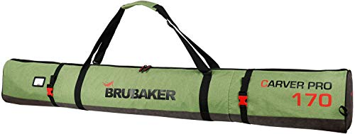 Brubaker Carver Performance Skisack für 1 Paar Ski und Stöcke - Grün meliert Schwarz -170 cm
